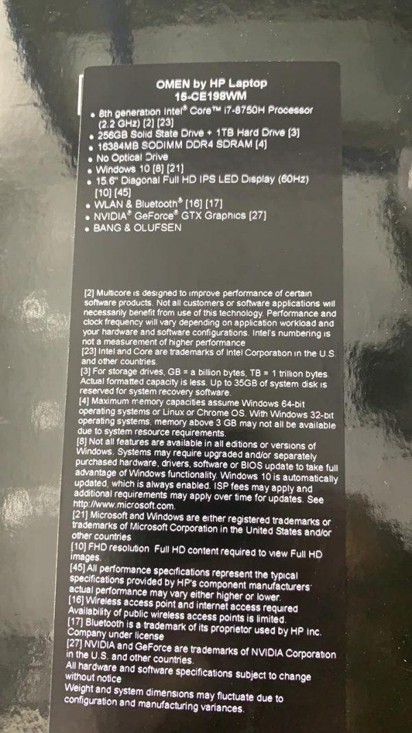 Omen CE198wm Core i7 8th gen Gaming Laptop Price